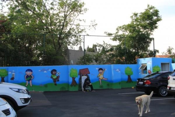 Parking wall graffiti
